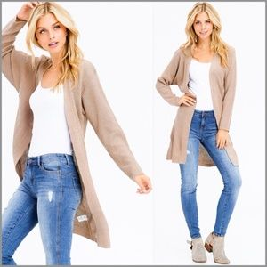 Khaki Ribbed Open Front Duster Cardigan